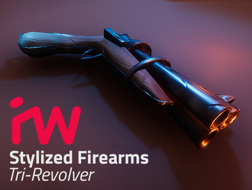 pbr stylized trirevolver model