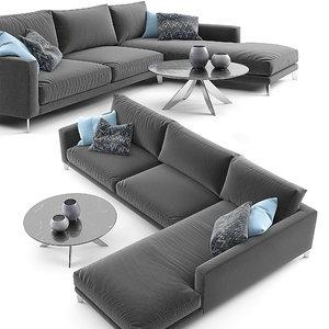 3D berto time break sectional sofa model