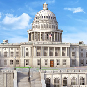 historic united states capitol building 3D model