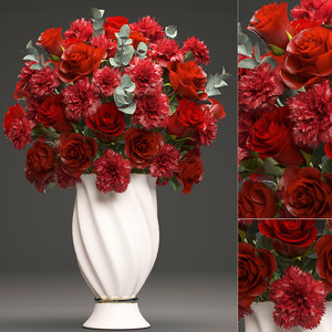3D bouquet red roses
