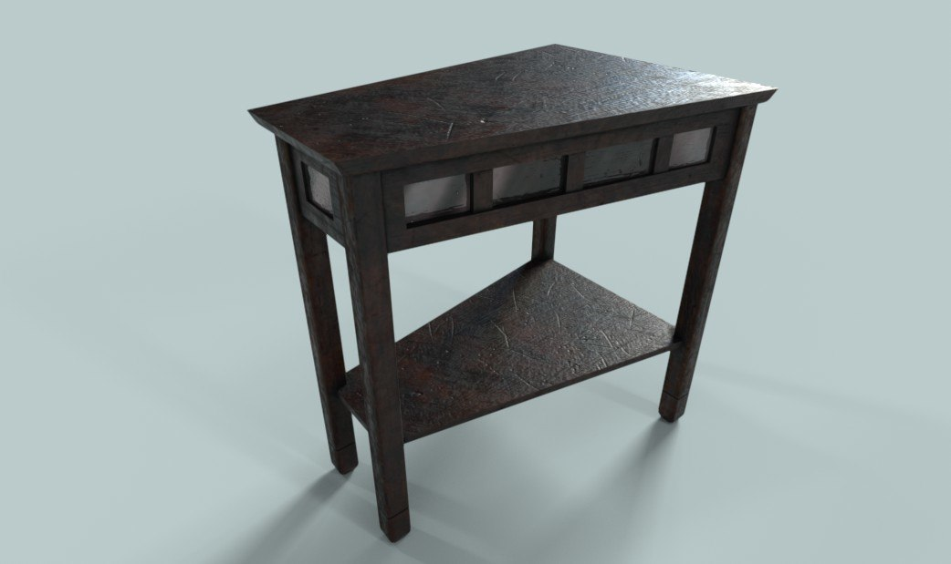 pbr wooden table 3D