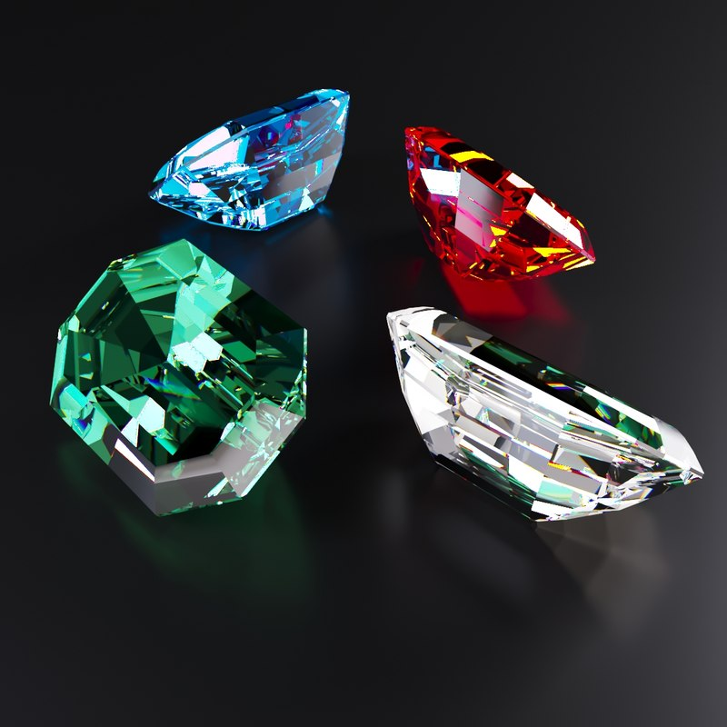 emerald diamond ruby 3D model