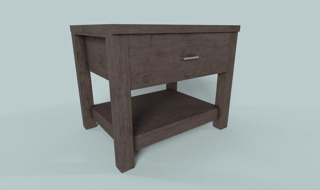 pbr wooden table drawer model