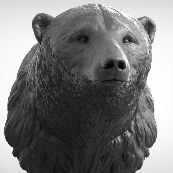 3D polar bear head