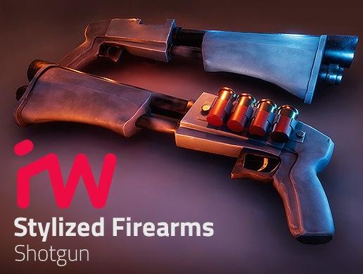 3D model pbr stylized shotgun