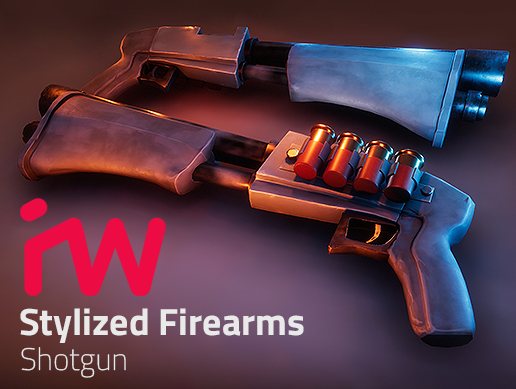3D model pbr stylized shotgun