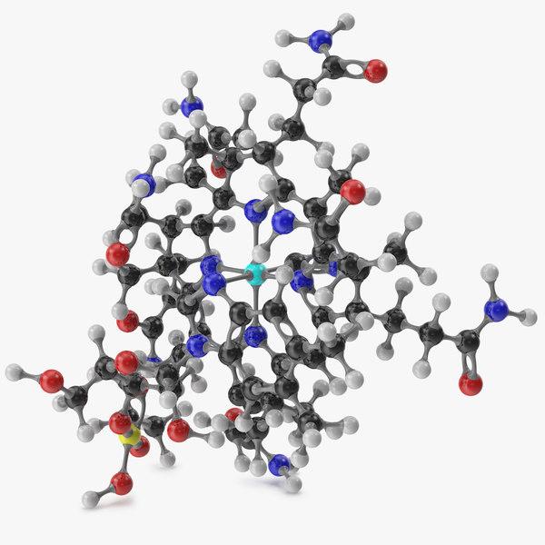 cyanocobalamin molecular 3D model