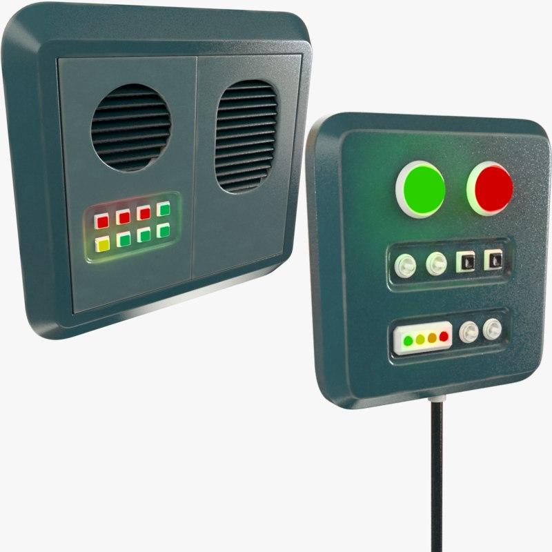 3D set control panels science fiction model