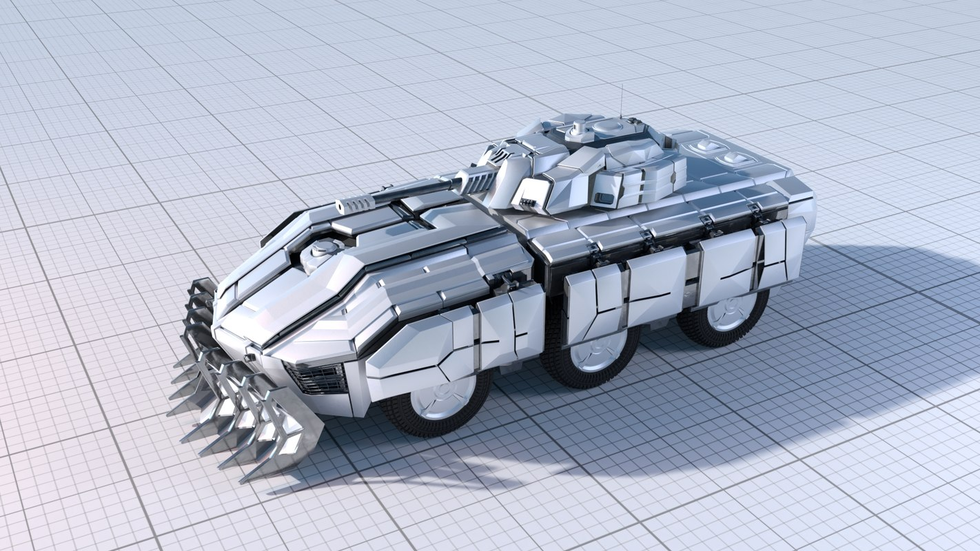 sci-fi armoured fighting vehicle 3D