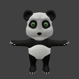 3D cute panda bear