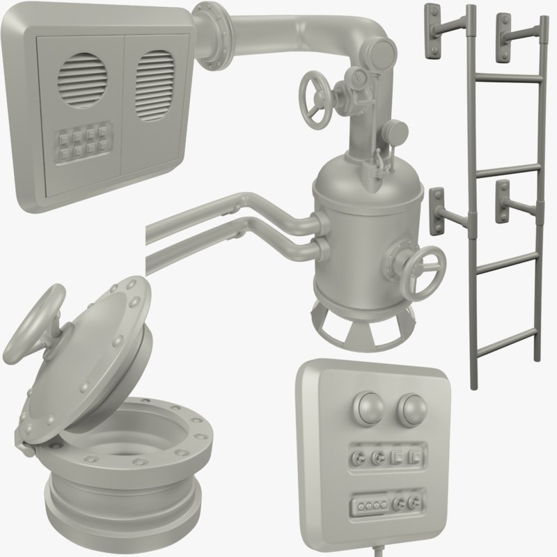 3D technical parts hatch staircase model