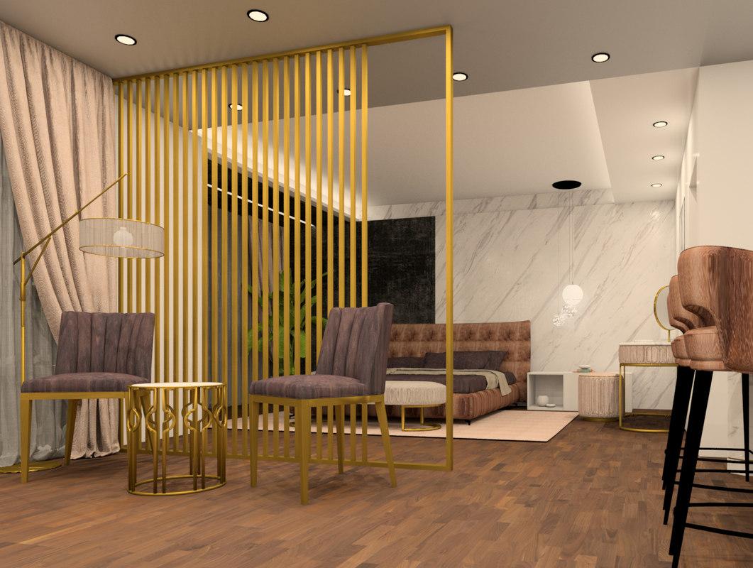 3D master bedroom revit scene model