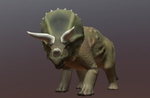 3D triceratops rigged zbrush model