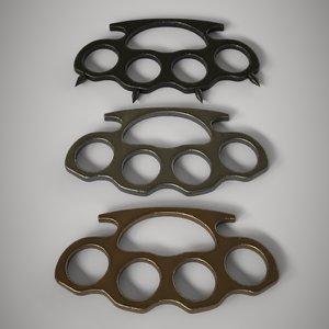 3D pack 3 brass knuckles