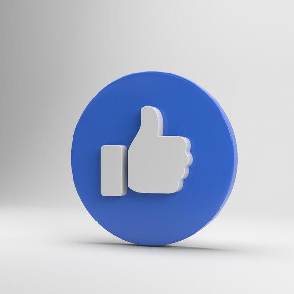 3D facebook icon model