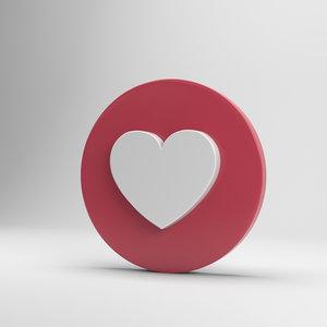 facebook love 3D model