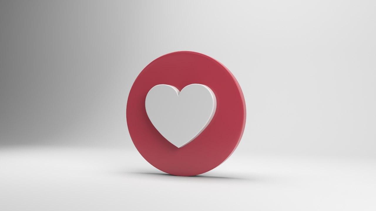 Facebook Love 3d Model Turbosquid 1291345