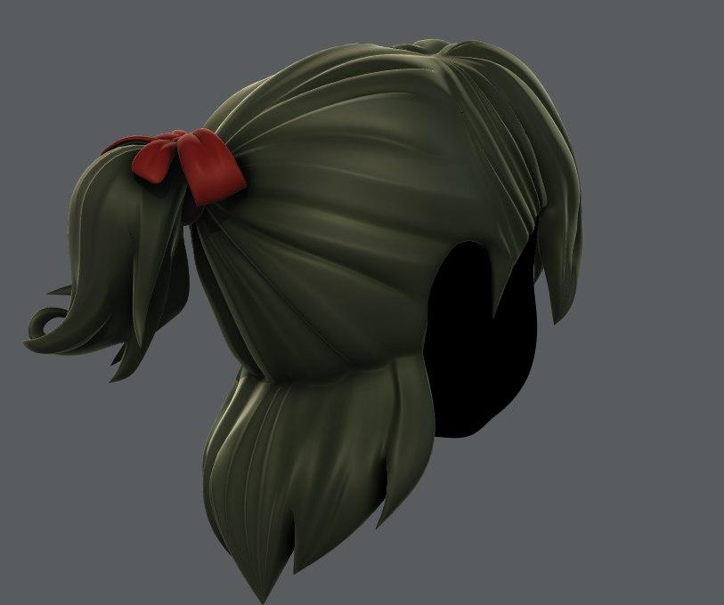 3D model girl hair