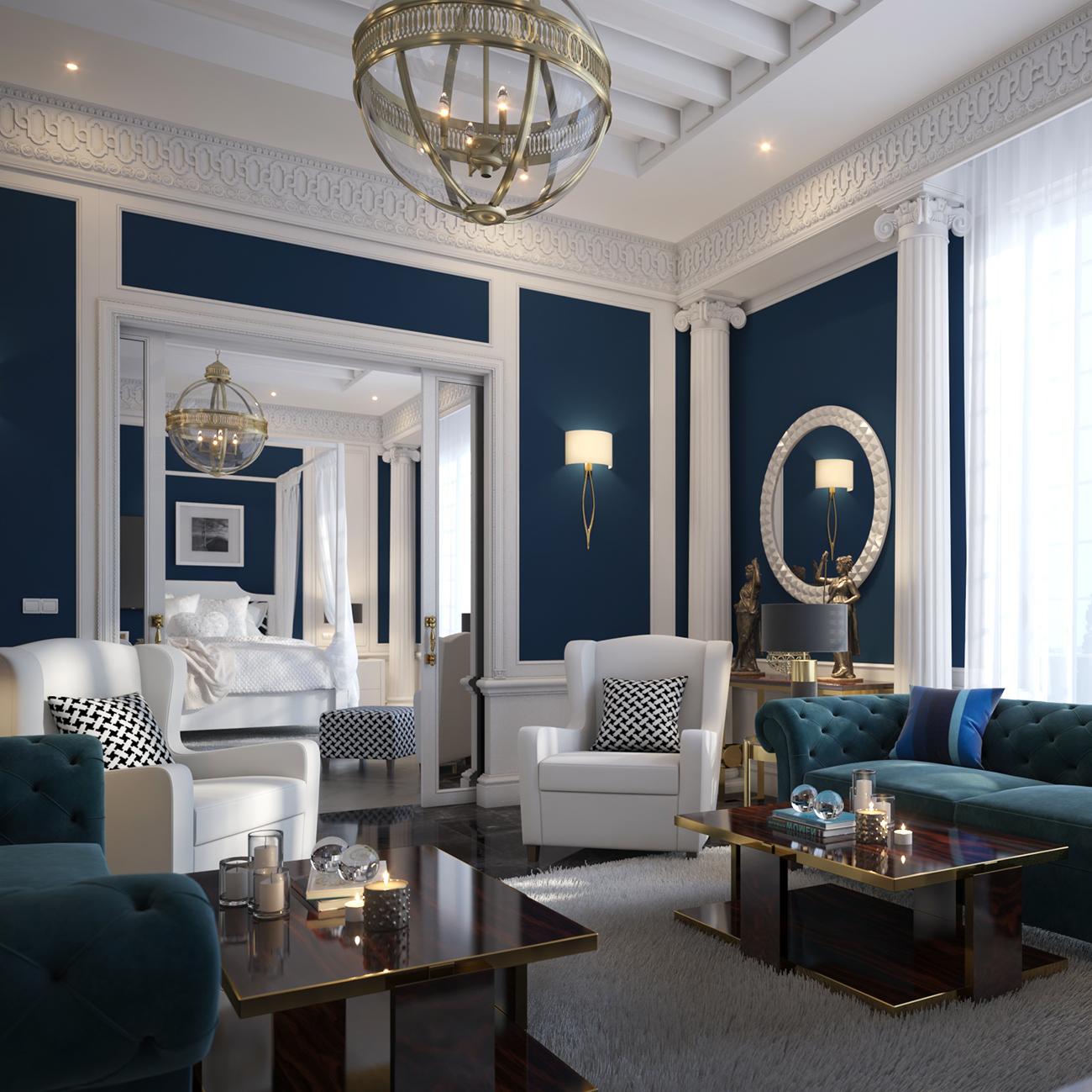 Mediterranean Style Living & Bedroom