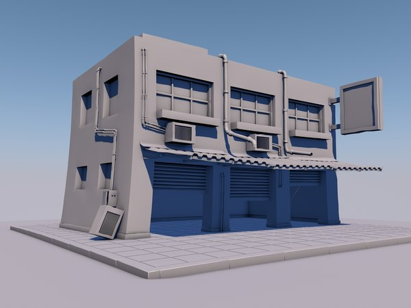 3D building gaming background model