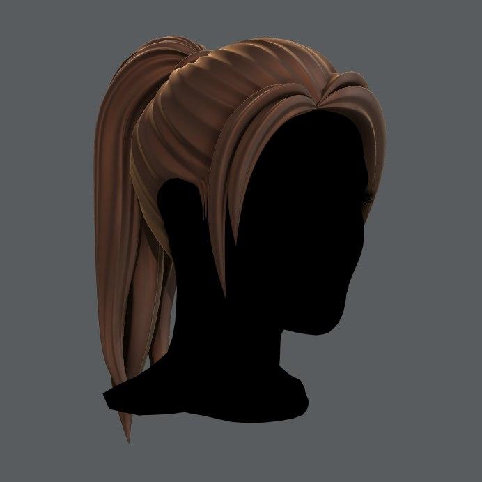3D hair style woman v02 model