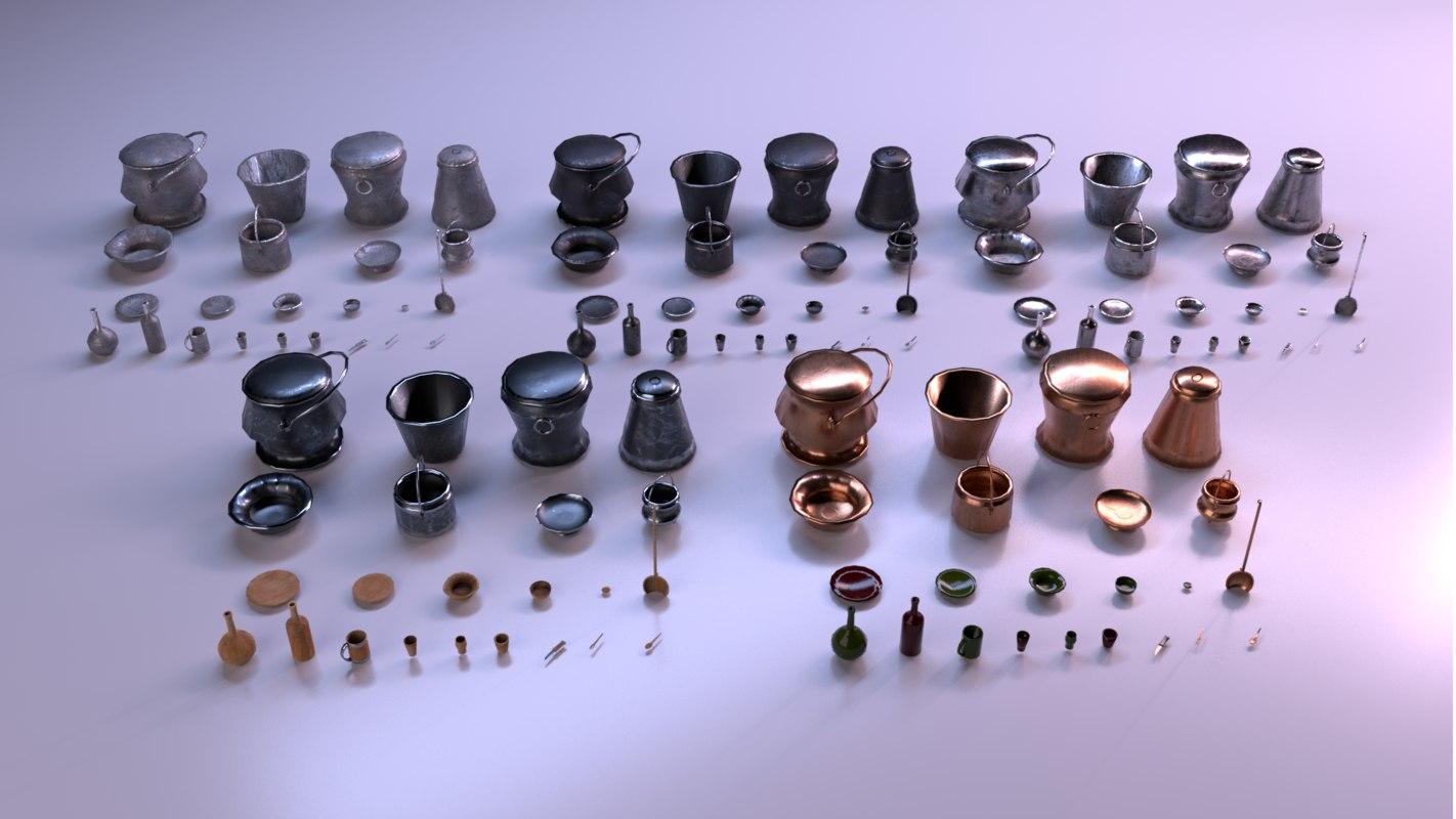 3D kitchen utensils pack - model