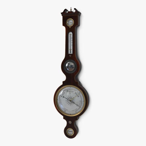 3D antique mahogany barometer model