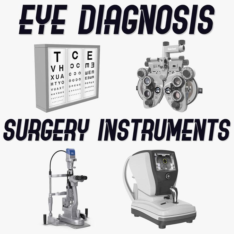 eye diagnosis surgery instruments 3D model