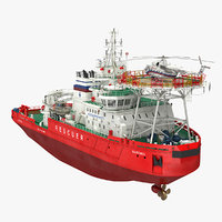 Icebreaker Baltika with Mi-8 Helicopter 3D Model