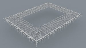 steel construction stadium modular 3D model
