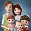 3D cartoon family rigged character