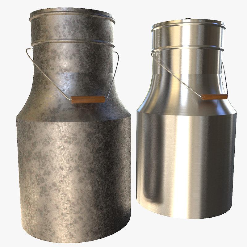 milk cans 3D