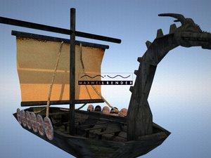 3D model viking longboat