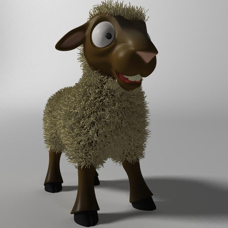 cartoon sheep rigged 3D model