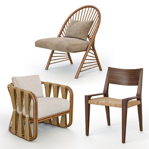 rattan wicker chairs 3D