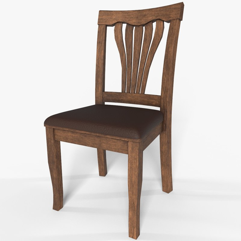 3D wooden chair pbr low-poly