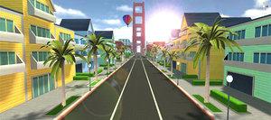 3D unity city beach model