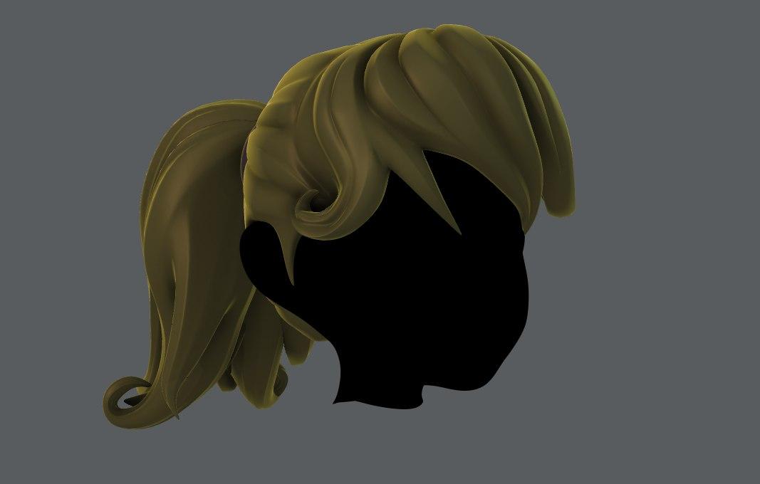 3D girl hair model