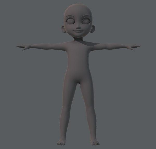 base boy character 3D model