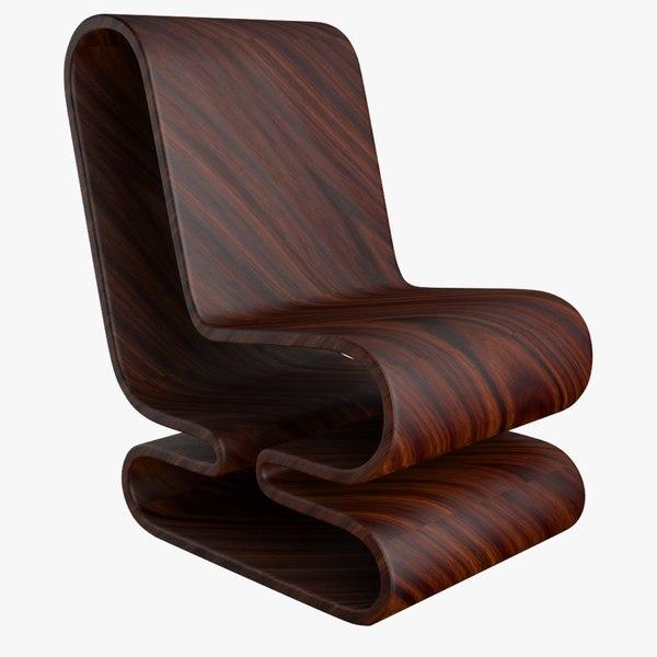 3D model wood chair