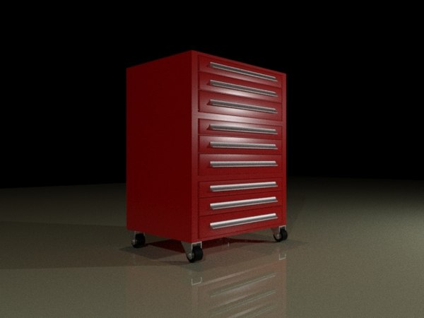 3D model rolling tool chest