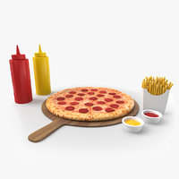 3D pizza meal french fries model