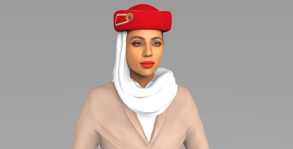 emirates airline stewardess ready 3D model