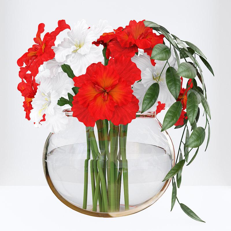 3D model bouquet red white irises