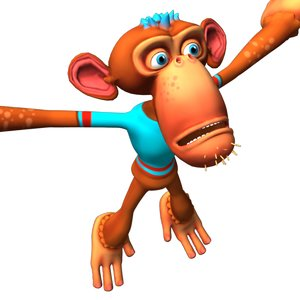 3D cartoon monkey character