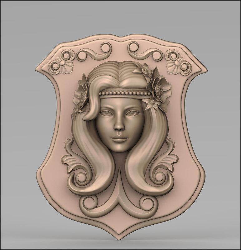 3D bas relief girl