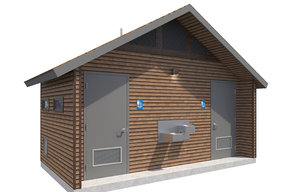 3D model public restroom building