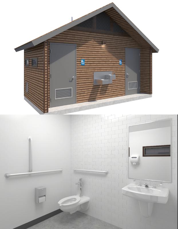 public restroom interior toilet paper model