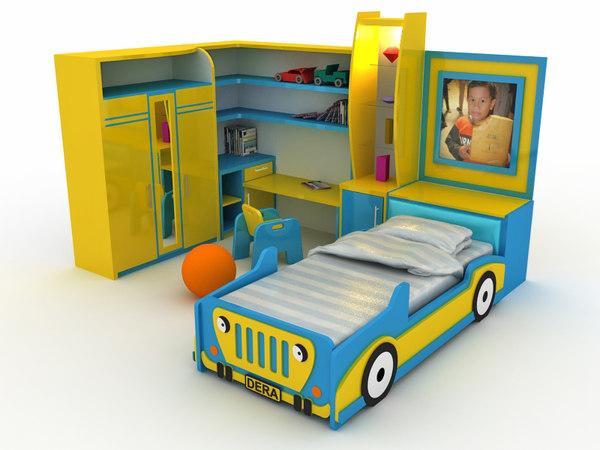3D child bedroom sets beds