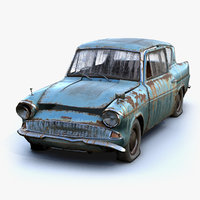 3D low-poly rusty anglia